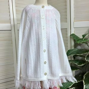 Vintage Knit White Spring Poncho Cape For Dress